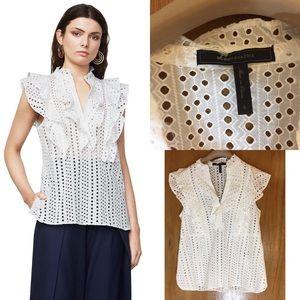 BCBG MAXAZRIA White Lace Ruffle Sleeveless Shirt
